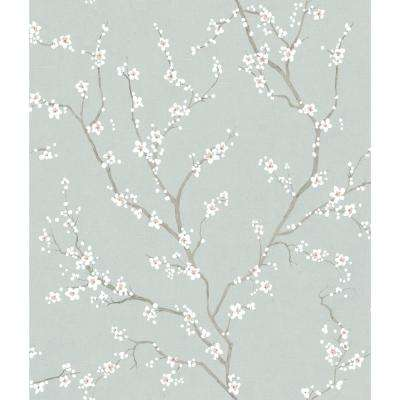 28.18 sq. ft. Blue Cherry Blossom Peel and Stick Wallpaper