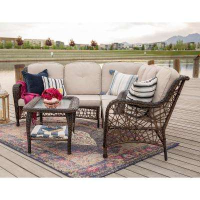 4-Piece Wicker Outdoor Dining Set with Brown Cushions