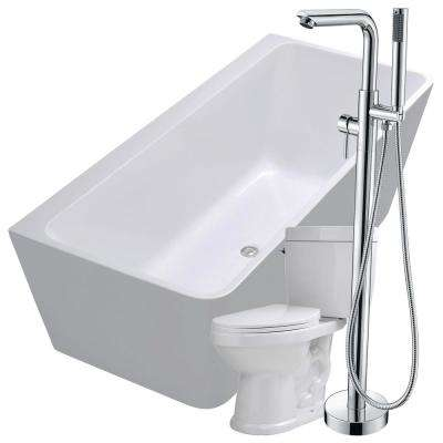 Strait 67 in. Acrylic Flatbottom Non-Whirlpool Bathtub in White with Sens Faucet and Talos 1.6 GPF Toilet