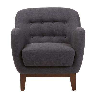 Sophia Mid-Century Dark Gray Fabric Upholstered Accent Chair