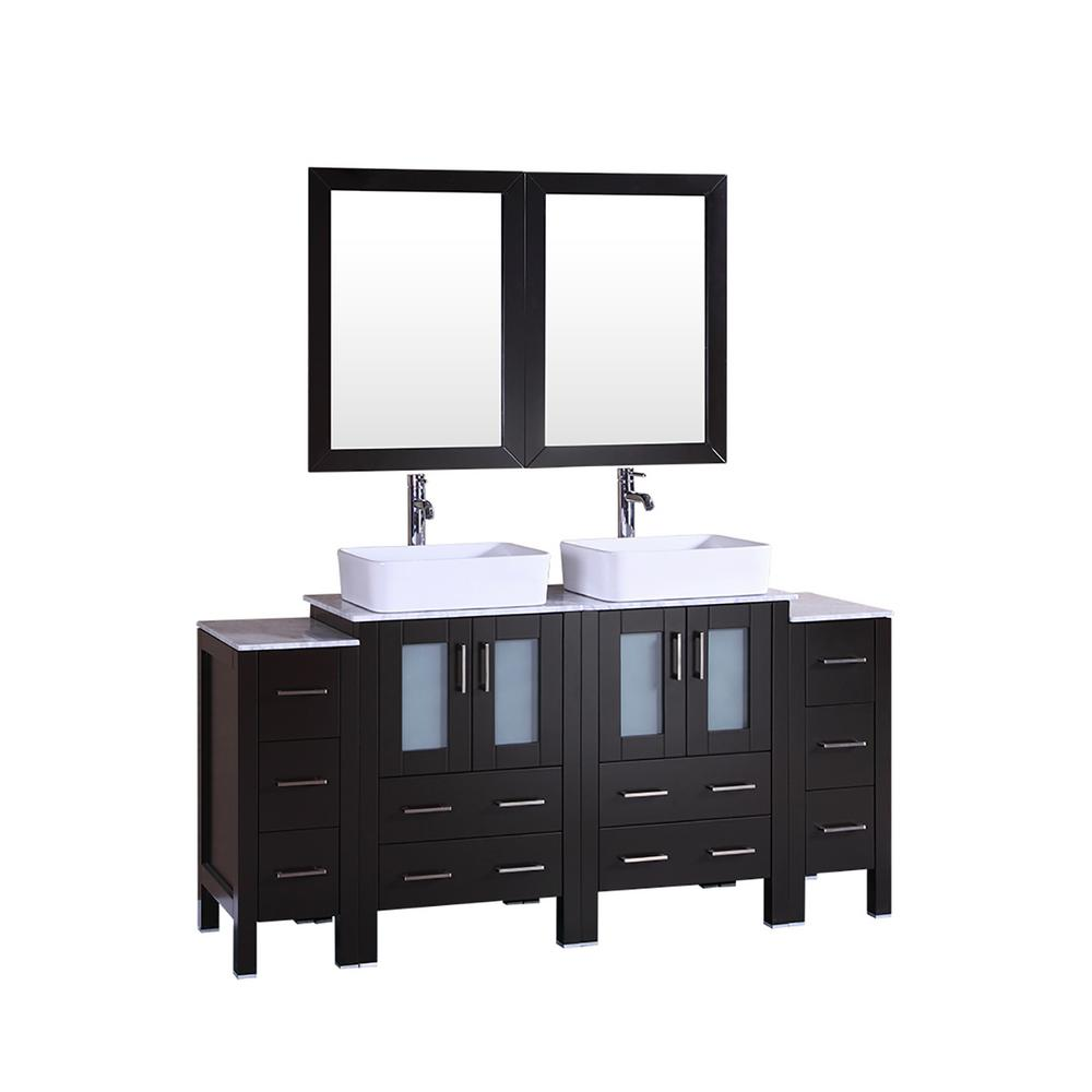 Bosconi 72 in. W Double Bath Vanity with Carrara Marble Vanity Top in Gray with White Basin and Mirror
