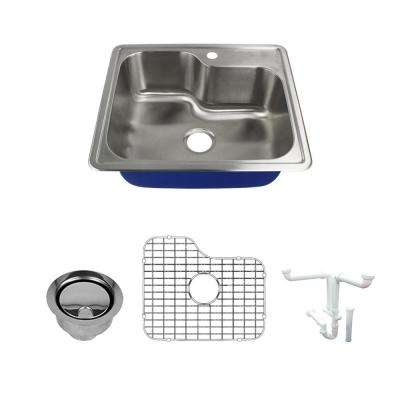 Meridian All-in-One Drop-In Stainless Steel 25 in. 1-Hole Single Bowl Kitchen Sink in Brushed Stainless Steel
