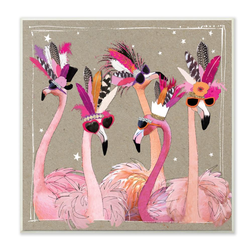 "12 in. x 12 in."" Fancy Pants Flamingos"" by Hammond Gower Printed Wood Wall Art"