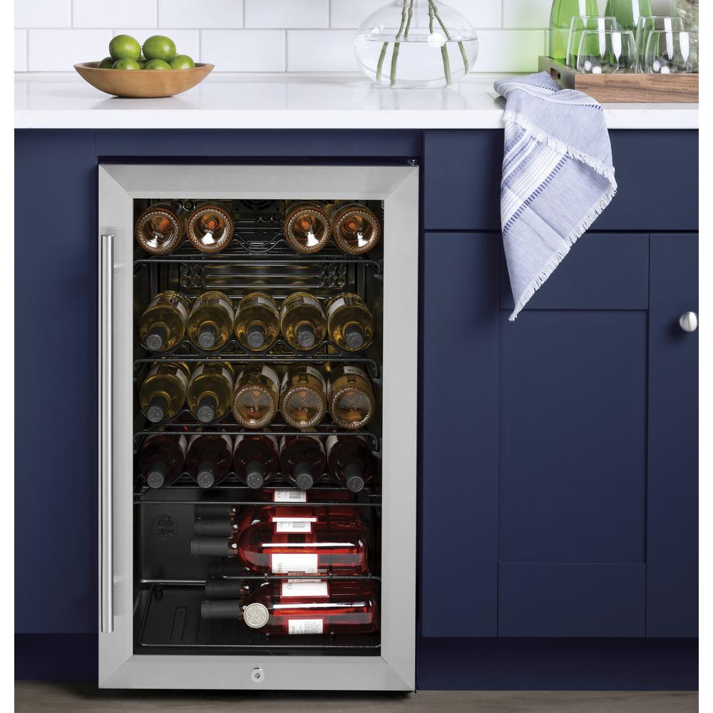 Ge 19 In W 30 Bottle Wine Cooler Gws04haess The Home Depot