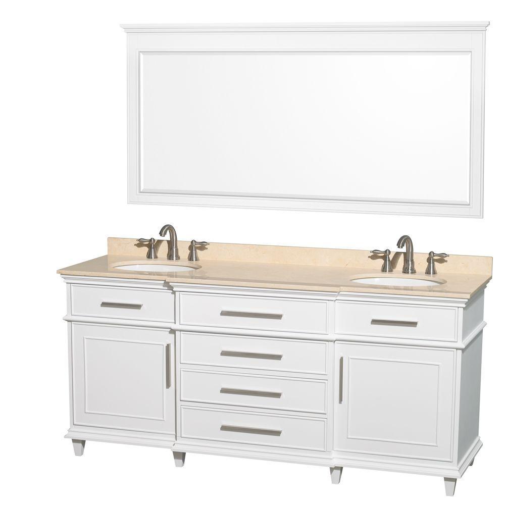 Berkeley 72 in. Double Vanity in White with Marble Vanity Top