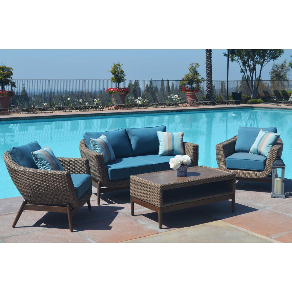Southfield 4-Piece Wicker Patio Conversation Set with Sunbrella Cast Lagoon Cushions