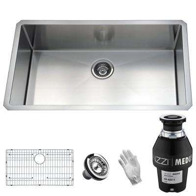 Vanguard Undermount Stainless Steel 32 in. Single Bowl Kitchen Sink with Medusa Series 1/3 HP Garbage Disposal