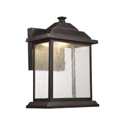 1-Light Black Outdoor Integrated LED Wall Lantern Sconce