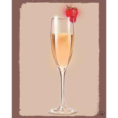 "20 in. x 24 in. ""Strawberry Champagne"" Planked Wood Wall Art Print"