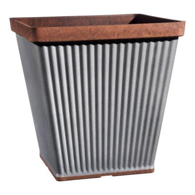 Spokane 14 in. Galvanized Resin Square Planter with Copper Rim
