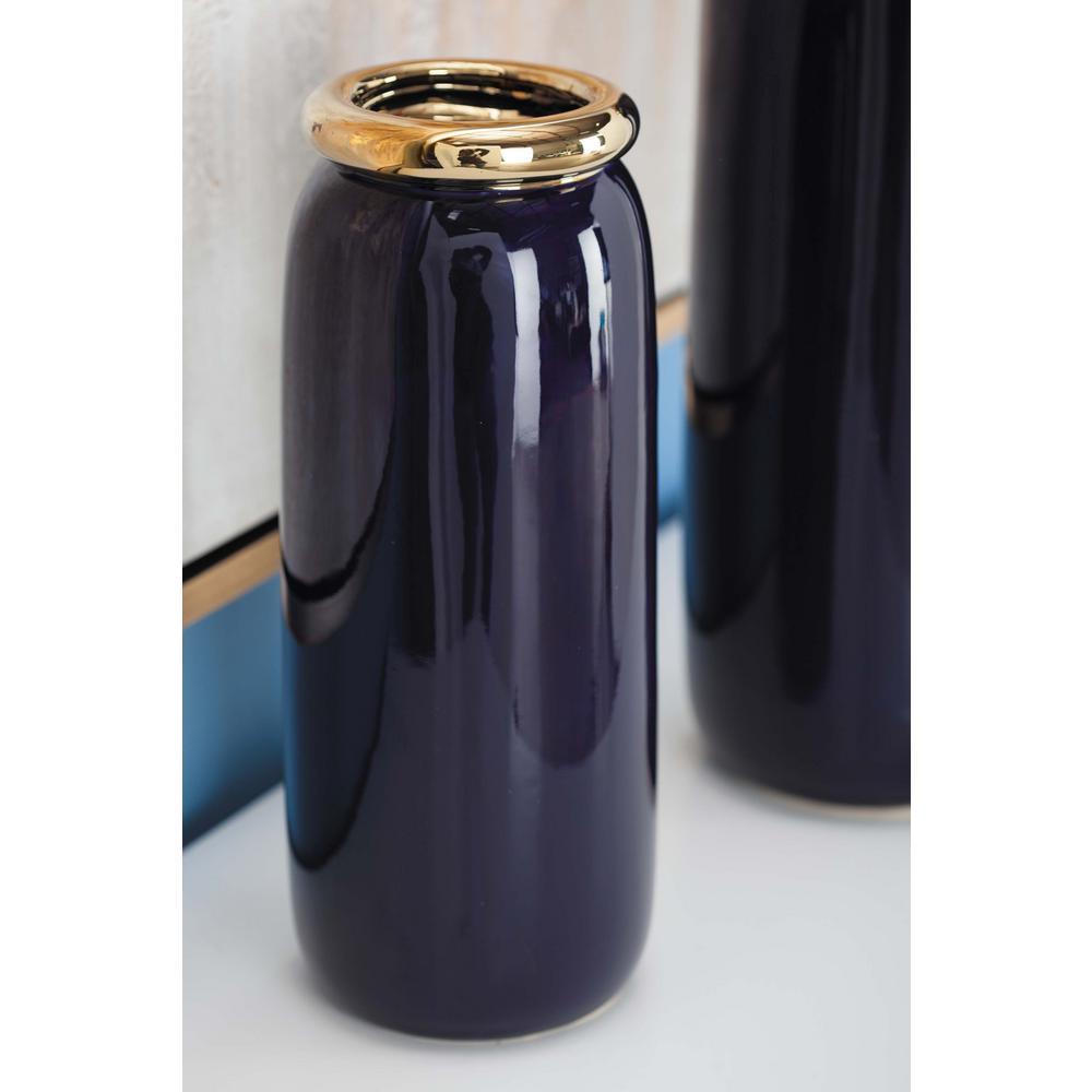 13 in. Urn-Shaped Glazed Blue Ceramic Metal Decorative Vase