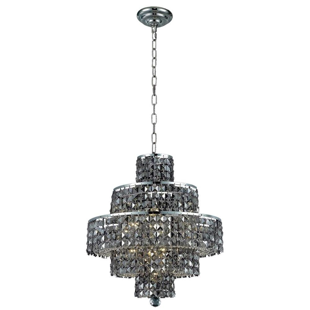 Elegant lighting 13 light chrome chandelier with silver shade grey elegant lighting 13 light chrome chandelier with silver shade grey crystal arubaitofo Choice Image