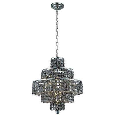 13-Light Chrome Chandelier with Silver Shade Grey Crystal