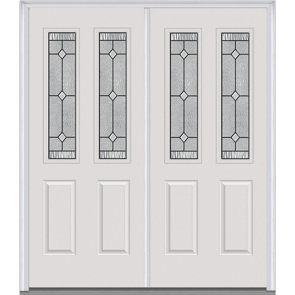 Mmi door 62 in x in carrollton decorative glass 2 for Home depot front doors with glass