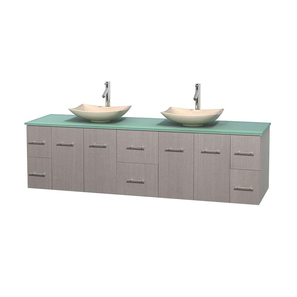 Wyndham Collection Centra 80 in. Double Vanity in Gray Oak with Glass Vanity Top in Green and Sinks