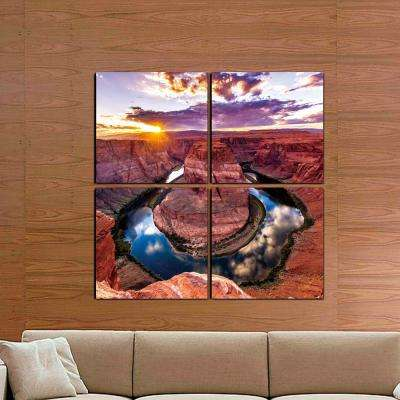 "40 in. x 40 in. ""Horse Shoe Bend"" Printed Canvas Wall Art"