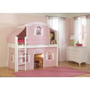 Cottage White Twin Low Loft Bed with Pink and White Top Tent and Bottom Curtain