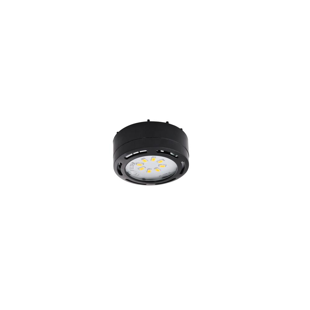 Amax Lighting LED Black Under Cabinet Puck Light with Power Cord