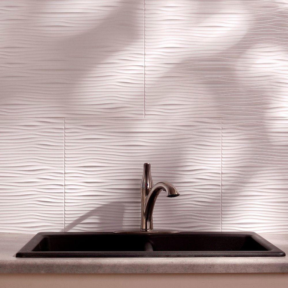 24 in. x 18 in. Waves PVC Decorative Tile Backsplash in Gloss White