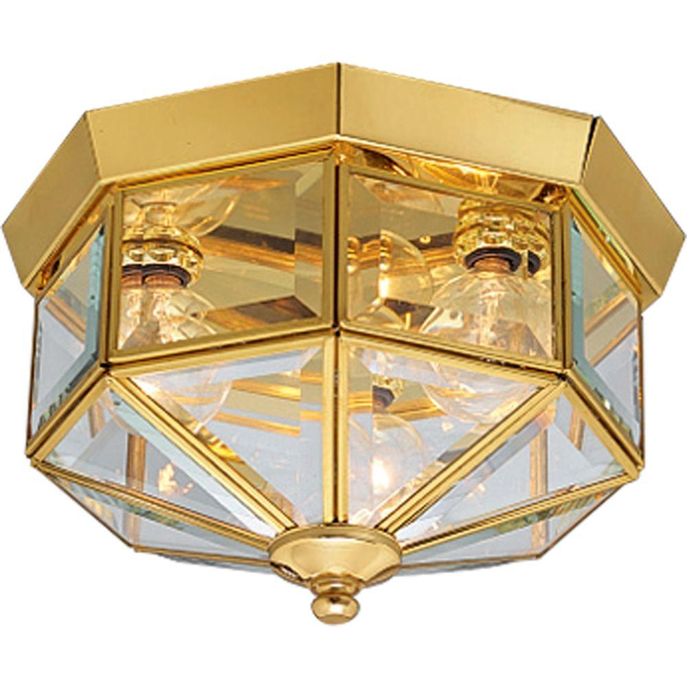 Progress Lighting 9.75 in. 3-Light Polished Brass Flushmount with ...
