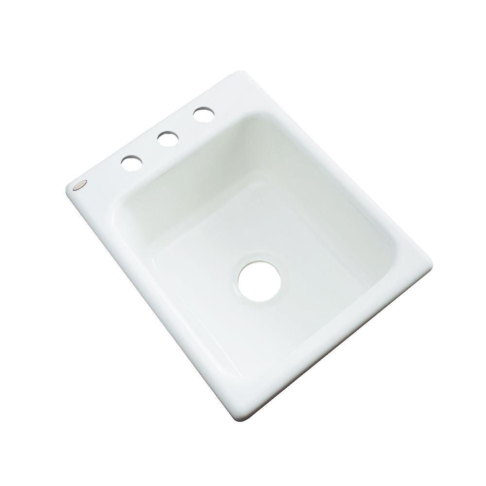 Thermocast Crisfield Drop-In Acrylic 17 in. 3-Hole Single Bowl Entertainment Sink in White