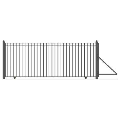 Madrid Style 18 ft. x 6 ft. Black Steel Single Slide Driveway with Gate Opener Fence Gate
