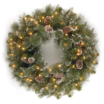 24 in. Glittery Pine Artificial Wreath with Clear Lights