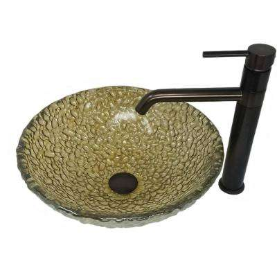 Sea Green Pebble Glass Vessel Sink with Euro Swivel Spout Vessel Filler and Drain Combo in Oil Rubbed Bronze