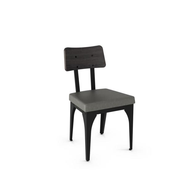 Amisco Symmetry Black Metal Grey Cushion Grey Wood Dining Chair Set Of 2 31669 25dn84 The Home Depot