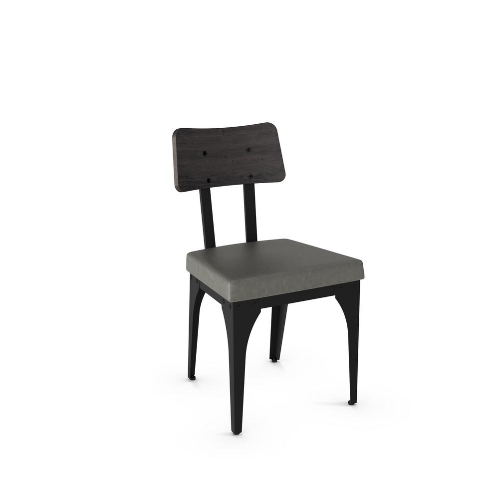 Symmetry black metal grey cushion grey wood dining chair set of 2 31669 25dn84 the home depot