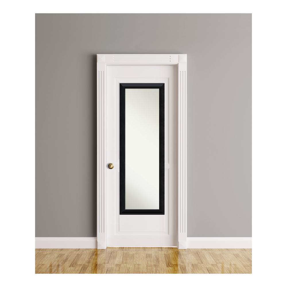 Nero Black Wood 18 in. W x 52 in. H On The Door Mirror