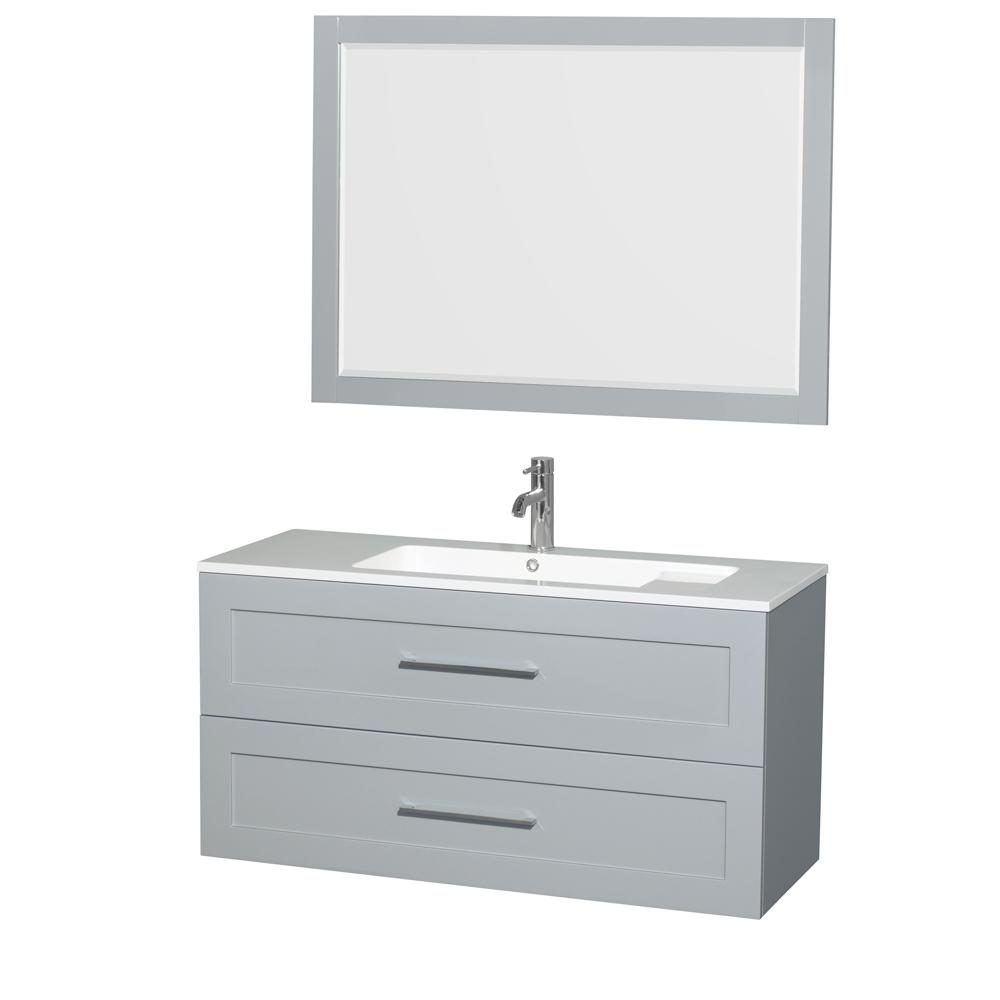 Wyndham Collection Olivia 47.3 in. W x 19 in. D Vanity in Dove Gray with Acrylic Vanity Top in White with White Basin and 46 in. Mirror