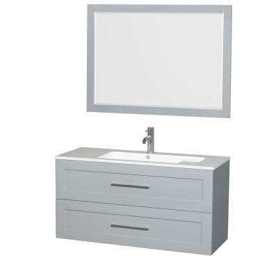 Olivia 47.3 in. W x 19 in. D Vanity in Dove Gray with Acrylic Vanity Top in White with White Basin and 46 in. Mirror