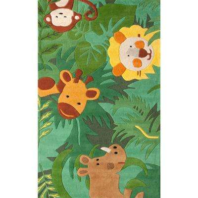 King of the Jungle Green 3 ft. 6 in. x 5 ft. 6 in. Area Rug