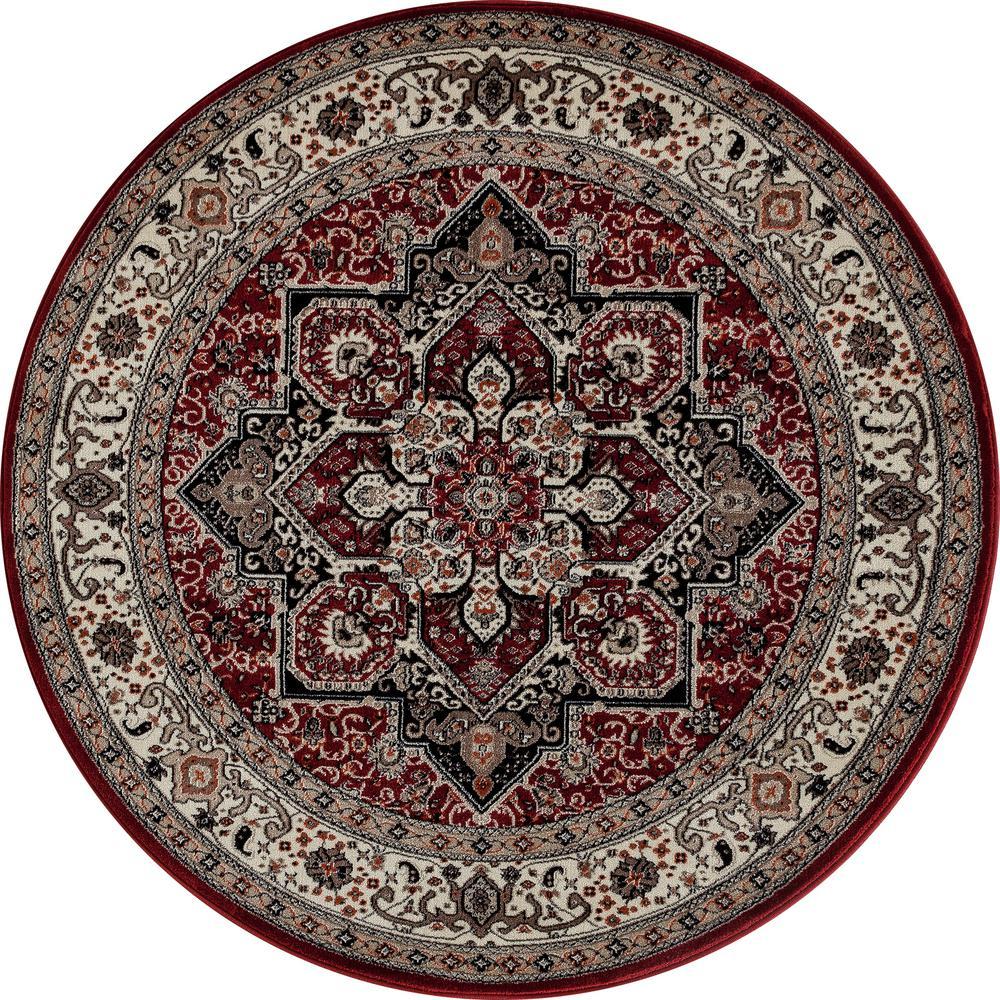Rug Kaleidoscope Runner: Art Carpet Dexter Kaleidoscope Red 8 Ft. X 8 Ft. Round