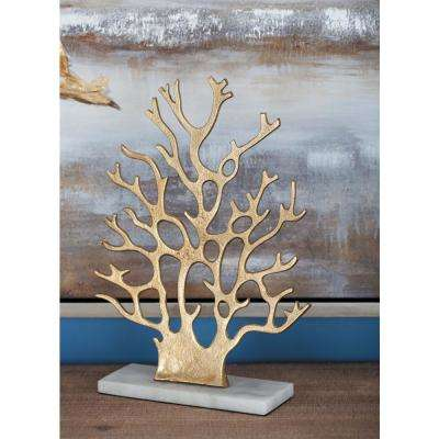 13 in. Coral Decorative Sculpture in White and Gold