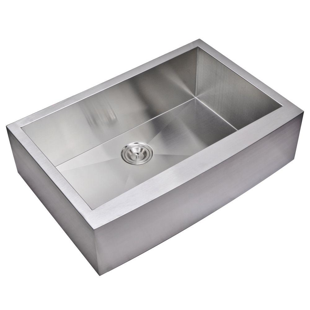 Water Creation Farmhouse Apron Front Zero Radius Stainless Steel 33 in. Single Basin Kitchen Sink in Satin