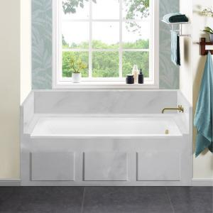 Voltaire 60 x 32 in. Acrylic Right-Hand Drain with Integral Tile Flange Rectangular Drop-in Bathtub in white