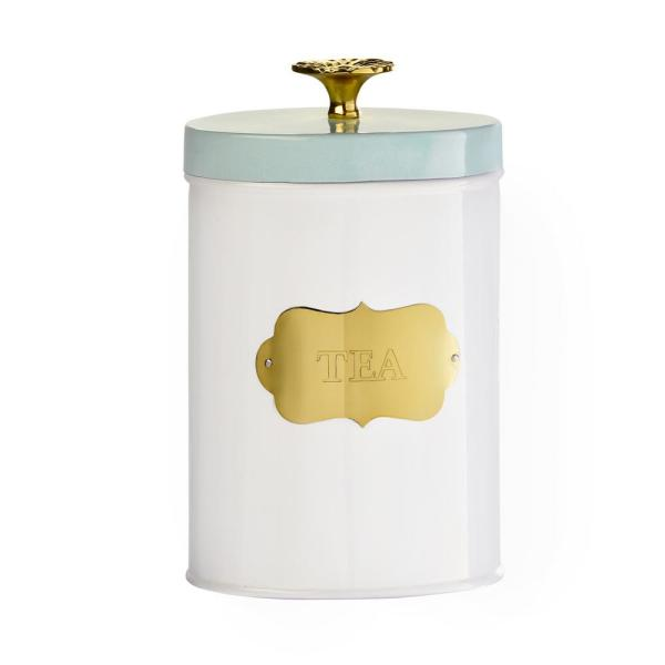 Amici Home Colette Metal Tea Canister with Gold Accents