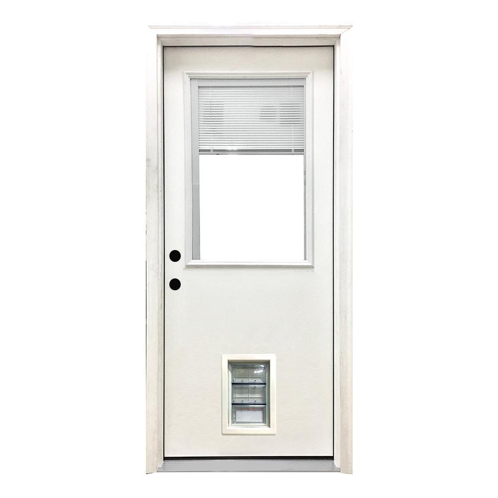 32 in. x 80 in. Classic Mini-Blind RHIS White Primed Textured Fiberglass Prehung Front Door with Med Pet Door