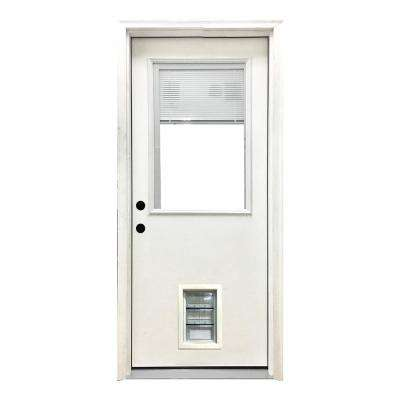 36 in. x 80 in. Classic Mini-Blind RHIS White Primed Textured Fiberglass Prehung Front Door with Med Pet Door