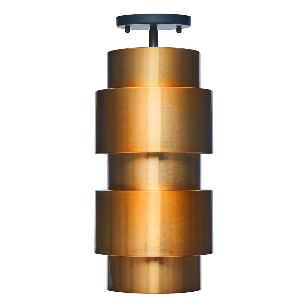 Nials 1-Light Brushed Antique Copper Semi-Flush Mount Pendant