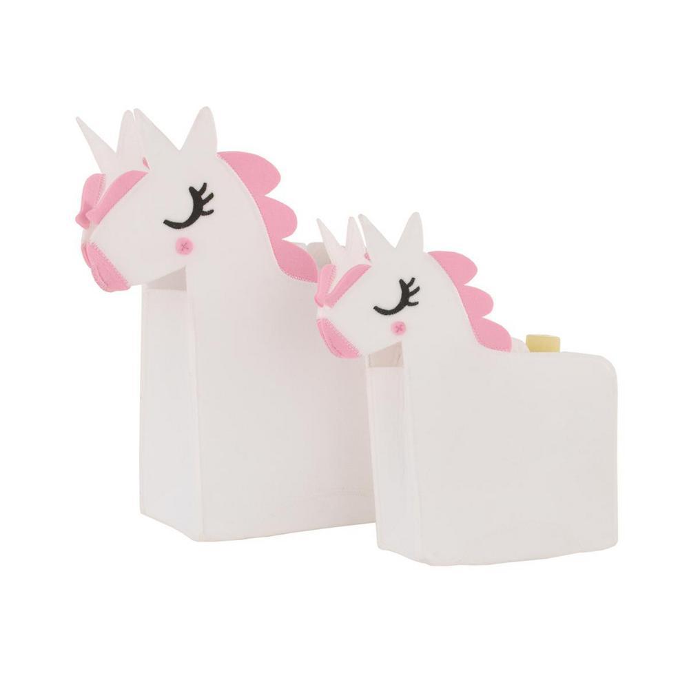White Felt Unicorn Shaped 2-Piece Nursery Storage Caddy Set