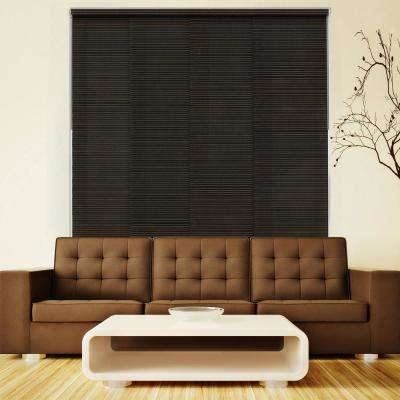 Deluxe Adjustable Sliding Panel / Cut to Length, Curtain Drape Vertical Blind, Natural Woven, Privacy - Tuscany Black
