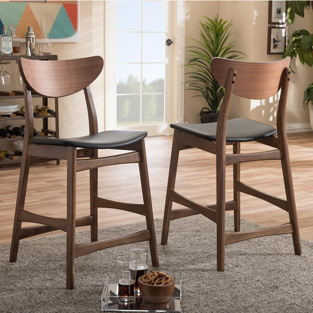 Latina Black Faux Leather and Medium Brown Wood 2-Piece Counter Stool