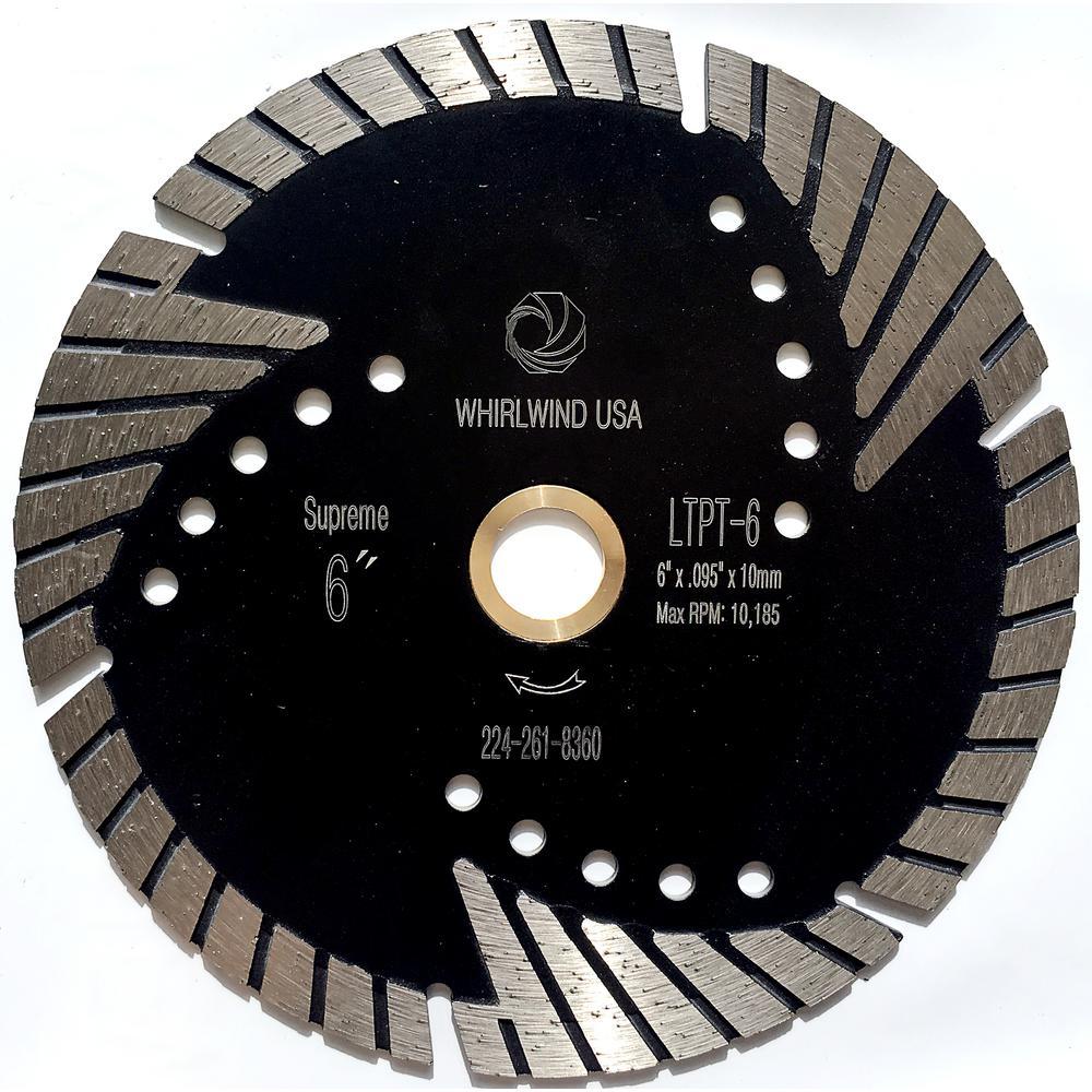 6 in. Turbo 6-Teeth Segmented Diamond Saw Blade Granite Marble Concrete Cutting