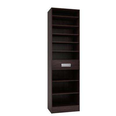 15 in. D x 24 in. W x 84 in. H Firenze Espresso Melamine with 9-Shelves and Drawer Closet System Kit
