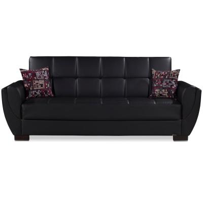 Armada Air Black Leatherette Upholstery Sleeper Sofa Bed with Storage