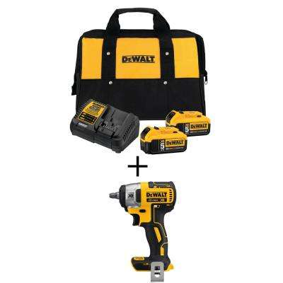 20-Volt Max 3/8 in. Cordless Compact Impact Wrench with Premium Battery Pack 5.0Ah (2-Pack), Charger & Kit Bag