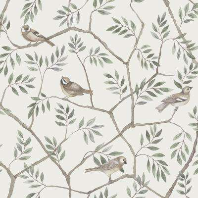 Crossbill Off-White Branches Wallpaper